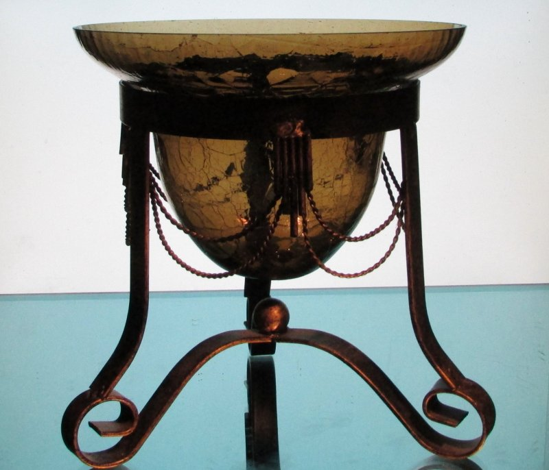 Hanging Candle Holder 7.75 x 5.25 Amber Crackle Glass in Stand. Stand not included.