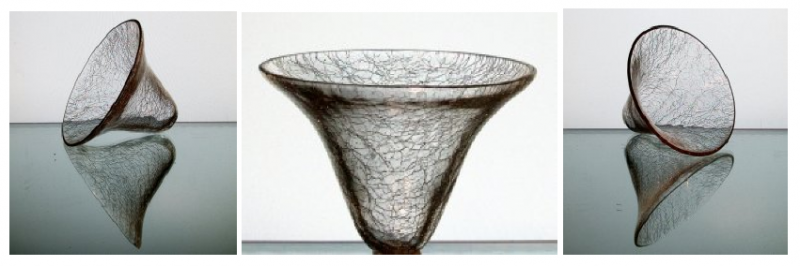 Hanging Candle Holder Crackle Glass 3.5 x 4 5/8 Cone Shape HCH089
