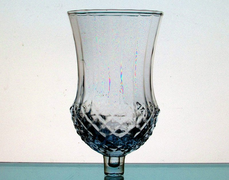Home Interiors Peg Votive Candle Holder Pale Blue Large Diamond Crystal