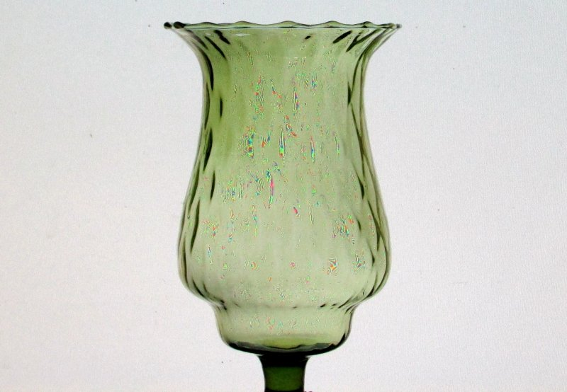 Home Interiors Peg Votive Candle Holder Olive Green Flared Rim Tudor Style