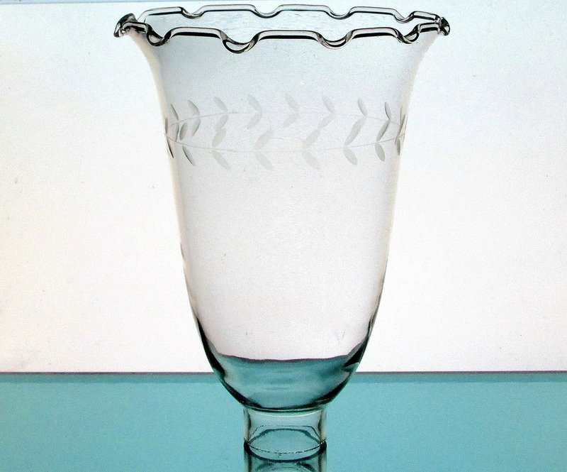 Hurricane Lamp Shade Crimped Rim Etched Vine 1 5/8 Fitter x 8.5 x 6.25 Hand Blown