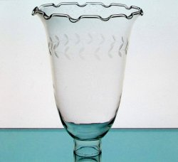 Hurricane Shade Crimped Rim Etched Vine 1 5/8 Fitter x 8.5 x 6.25 Hand Blown