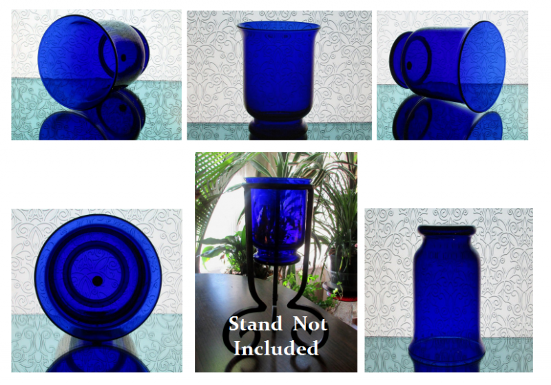 Partylite Hurricane Candle Holder Cobalt Blue Brilliance P7389