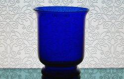 Partylite Hurricane Candle Holder Vase Cobalt Blue Brilliance P7389