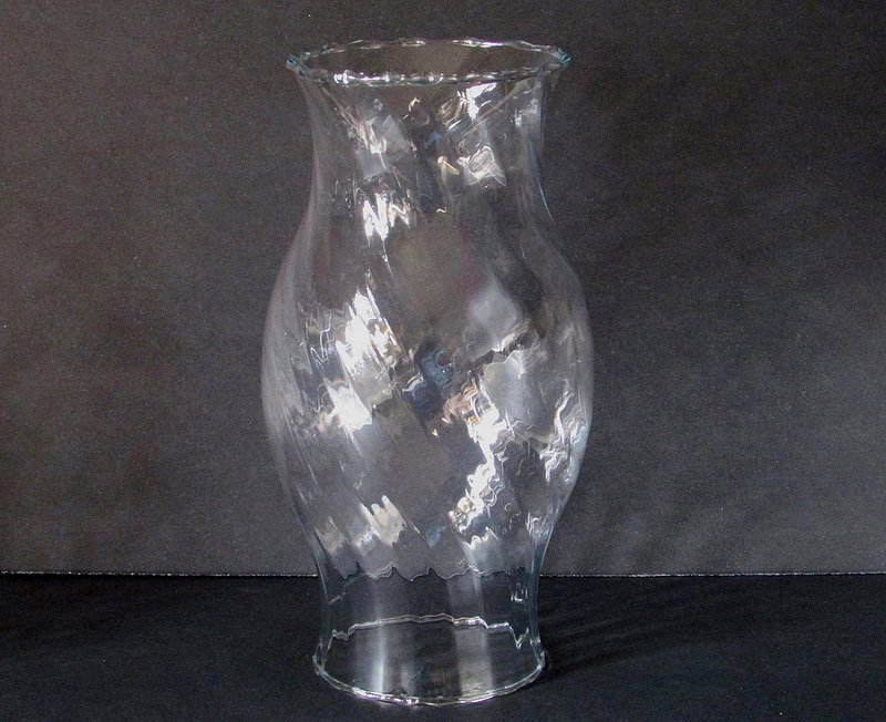 Hurricane Shade Bulbous Sleeve Swirled Glass 8 3/8 x 3 5/8 x 3 1/8