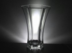 Glass Vase Hoosier 4040 6 Panel Hexagon Clear Heavyweight