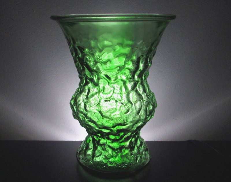 Crinkle Glass Flower Vase 10 Inch Emerald Green Vintage Eo
