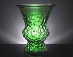 Crinkle Glass Flower Vase 10 inch Emerald Green Vintage EO Brody Indiana Glass