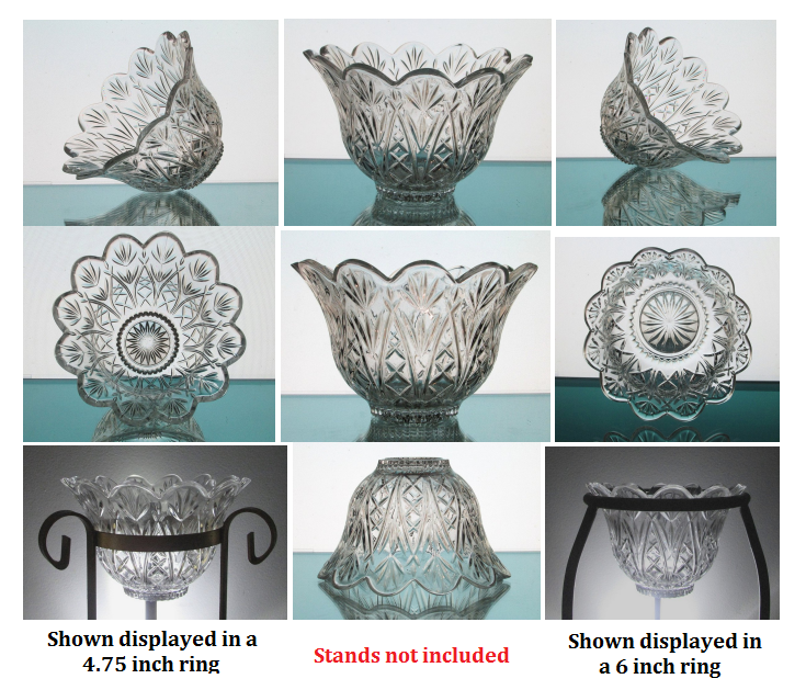 Image 9 of Crystal Candle Holder Flared and Scalloped Rim Heavyweight HCH098 OOS
