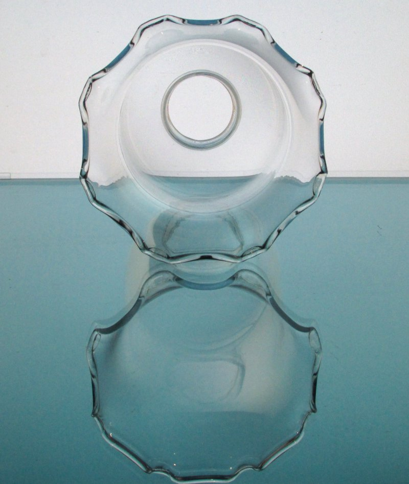 Hurricane Lamp Shade 1 5/8 inch fitter x 6.75 Glass Globe Crimped Rim