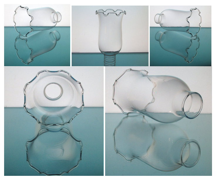 Hurricane Lamp Shade 1 5/8 inch fitter x 6.75 Glass Globe Crimped Rim