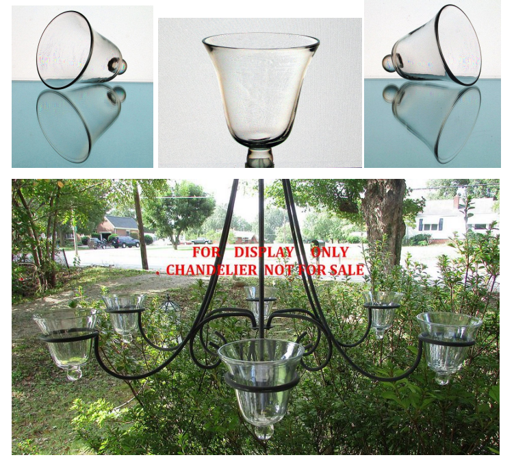 Image 6 of Hanging Candle Holder Flared Rim with Knob 3.25 w x 3.5 h iridescent HCH100