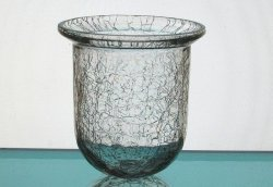 Hanging Candle Holder Crackle Glass Clear 3.25 x x 3.5 h HCH103