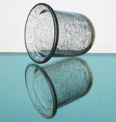 '.Candle Holder Crackle Glass.'