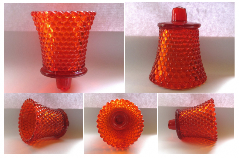 Home Interiors Peg Votive Candle Holder Dark Orange Hobnail