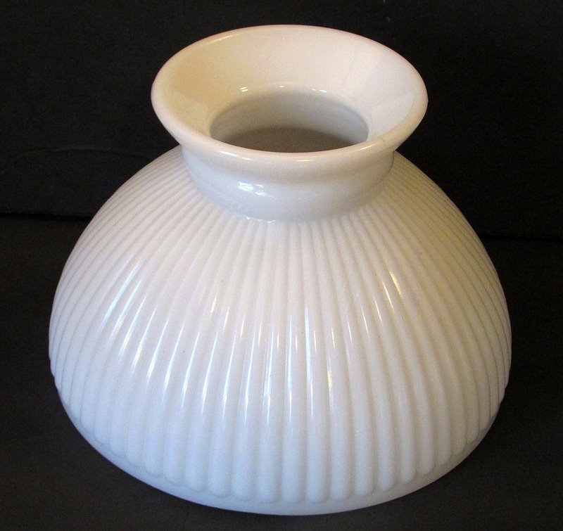 Opal Glass Lamp Shade Ribbed White 8 inch fitter width x 5 5/8 inch high