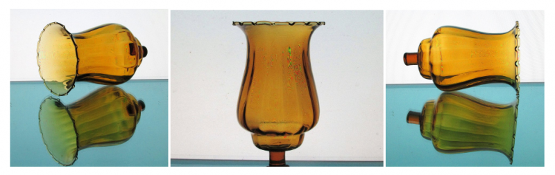 Home Interiors Peg Votive Candle Holder Amber Flared Rim Paneled Style