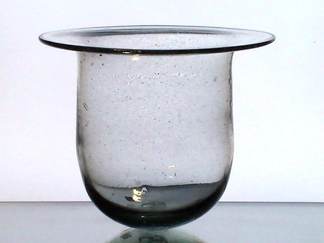 Hanging Candle Holder Flat Wide Rim 9.5 x 8 XL Heavy Bubble Glass