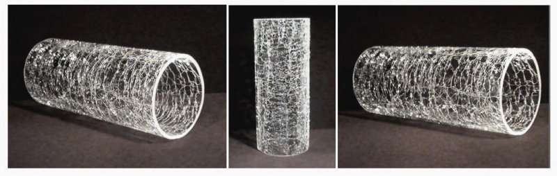 Hurricane Shade Cylinder Sleeve Heavy Crackle Glass 8.75 x 3 5/8