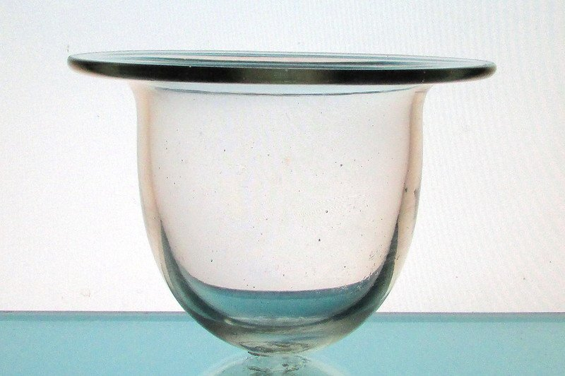 Hanging Candle Holder Wide Flat Rim Clear 6 1/8 x 4.75 HCH109