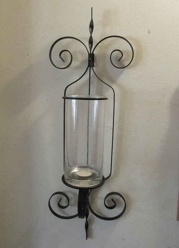 Wrought Iron Wall Sconce Candle Holder / Vase XL