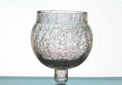 Peg Votive Candle Holder Crackle Glass Heavy Ball