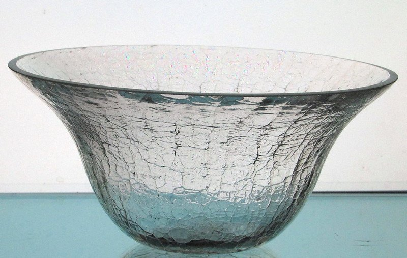 Hanging Candle Holder Bowl Crackle Glass 7 7/8 x 4