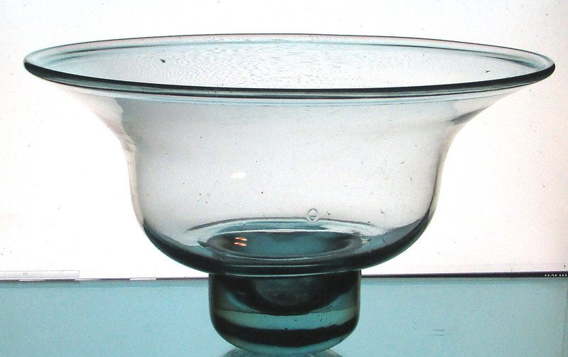 Hanging Candle Bowl 11 5/8 inches x 7 inches Pale Green Glass XXL