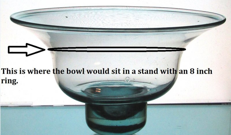 Hanging Candle Bowl 11 5/8 inches x 7 inches Pale Green Glass XXL showing 8 inch ring placement.