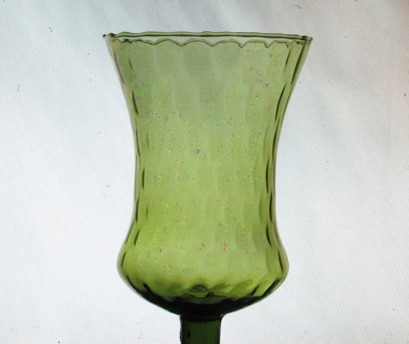 Home Interiors Peg Votive Candle Holder Flared Olive Green Tudor Style