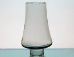 Hurricane Lamp Shade 2 inch fitter x 6 5/8 x 2.75 Hippy Hand Blown Gray Glass