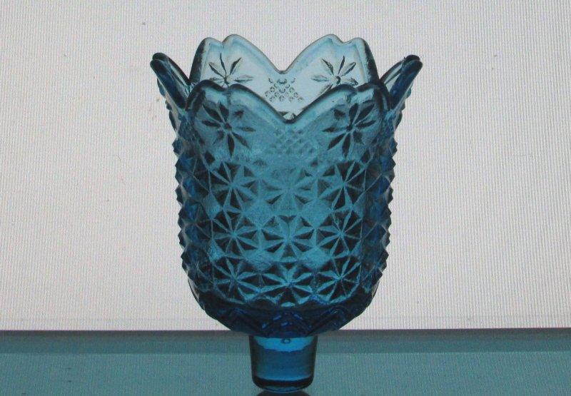 Peg Votive Candle Holder Blue Starburst Small