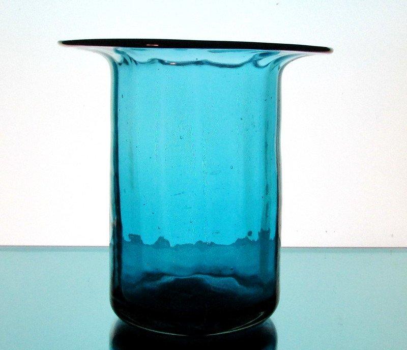 Hanging Candle Holder / Vase 6 1/8 x 6.25 Turquoise Blue Flat Rim