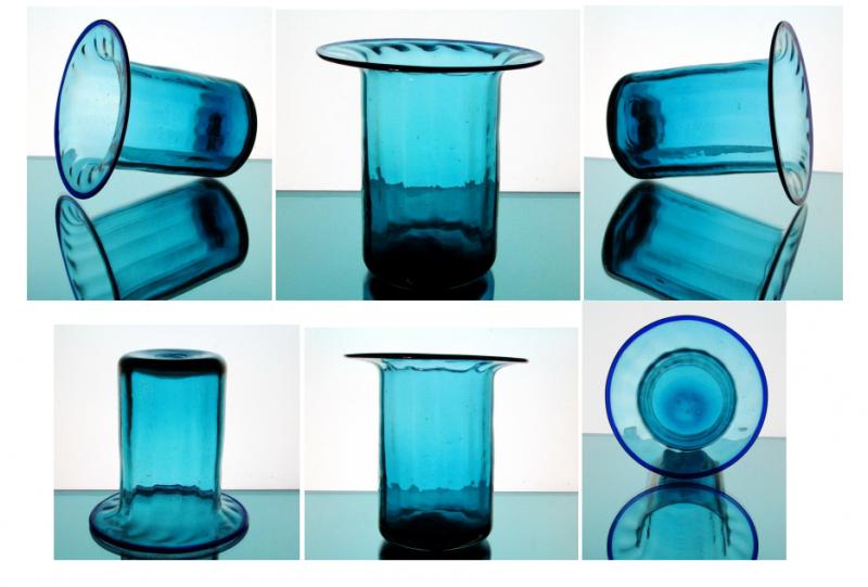 Hanging Candle Holder Vase 6 1/8 x 6.25 Turquoise Blue Flat Rim