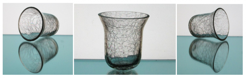 Hanging Candle Holder Crackle Glass 3.25 x 3.5 HCH118