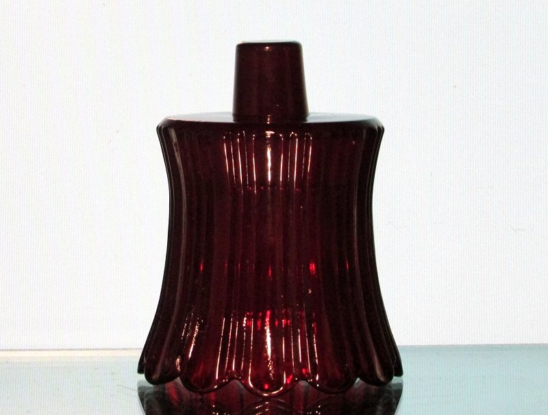 Peg Votive Candle Holder Ruby Red Scalloped Petals Ridged