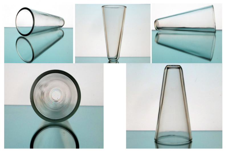 Hanging Cone Wall Vase Vessel Clear 7.75 x 3.75 Heavy Clear Glass