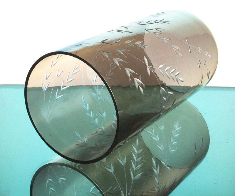Hurricane Shade Sleeve Cylinder Amber Etched Wheat 9 7/8 x 5