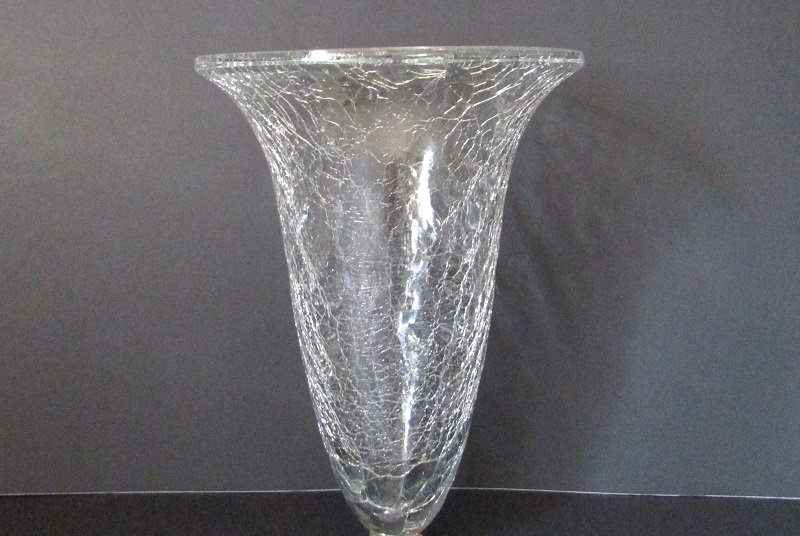 Hanging Vase / Candle Holder Clear Crackle Glass 6 5/8 x 9 XL
