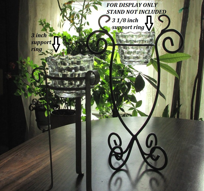 Hanging or Table Top Fostoria Style Candle Holder 3.5 x 2 7/8 Clear Glass HCH125 Stands not included, for display only.