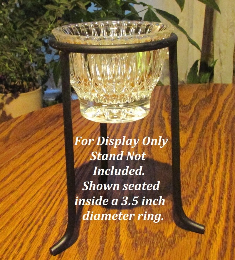 Hanging or Table Top Candle Holder 3 7/8 x 3 Clear Crystal HCH126 Stand Not Included, Shown for display only. Holder is seated inside a 3.5 inch diameter ring.