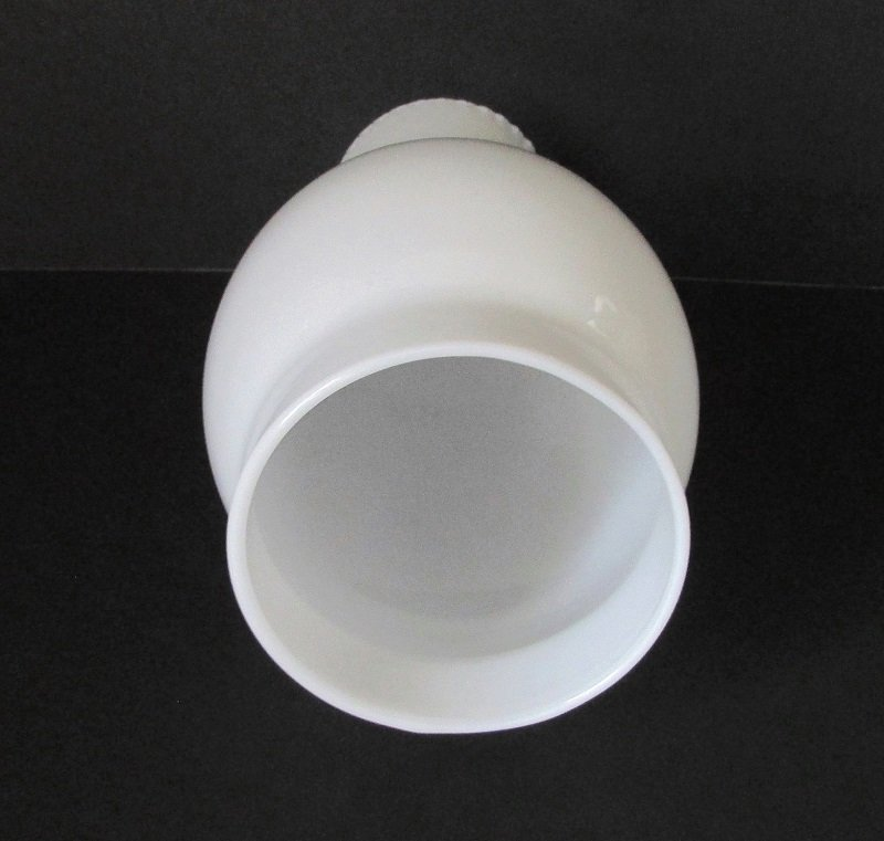Hurricane Lamp Shade 3.5 inch fitter x 9.75 x 3.25 White Opal Glass Crimped Rim