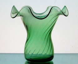 Hanging Candle Holder / Vase 6 x 5.5 Green Swirl Ruffled Rim
