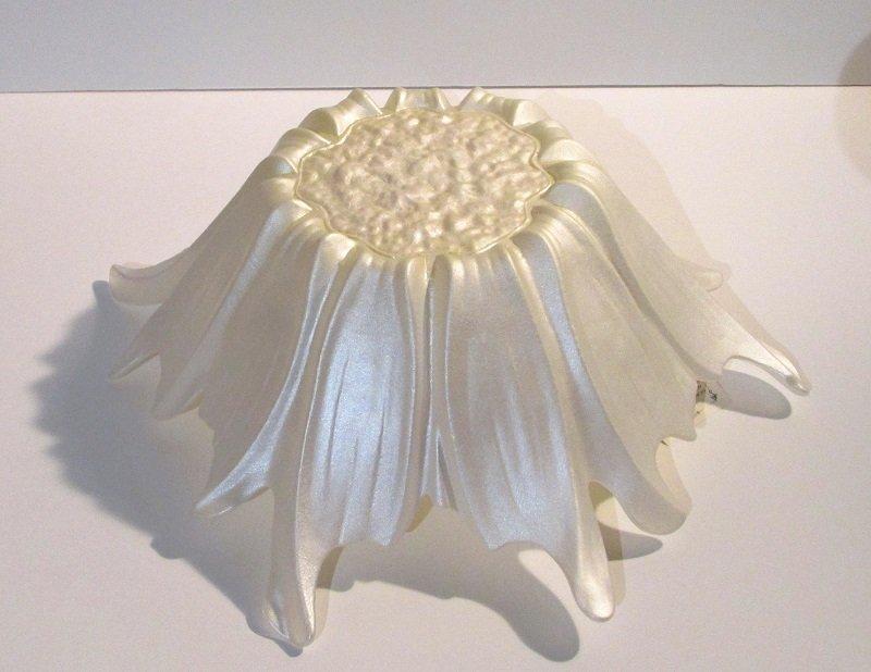 Akcam Turkish Art Glass Decorative Bowl Iridescent White and Gold 12 inch