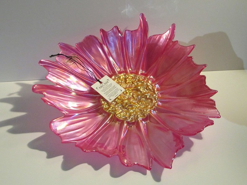 Akcam Turkish Art Glass Decorative Plate Iridescent Pink and Gold 12 inch