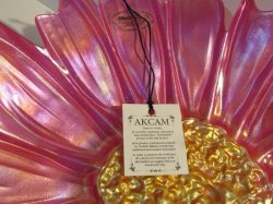 '.Decorative Plate Pink / Gold.'