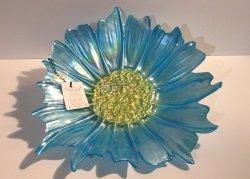Akcam Turkish Art Glass Decorative Plate Iridescent Blue and Gold 12 inch