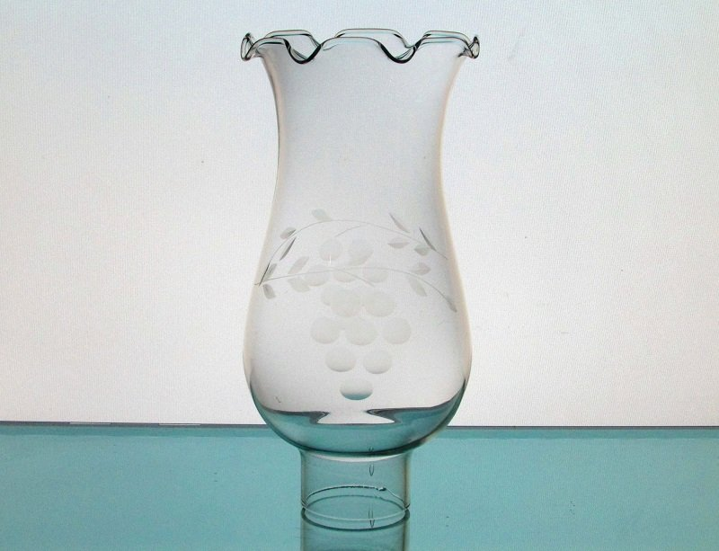 Hurricane Lamp Shade 1 5/8 inch fitter x 6.75 Crimped Rim Etched Grapes HLS001