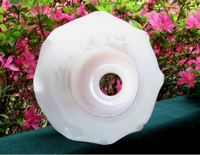 Glass Lamp Shade 2 1/8 Fitter Brown and White Floral Spray with Crimped Rim