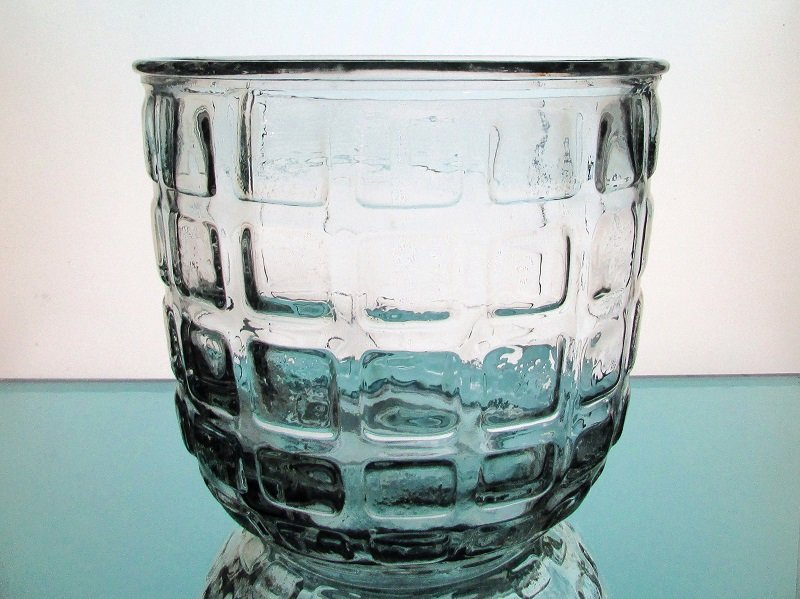Heavy Glass Vase Candle Holder Pressed Blocks Clear